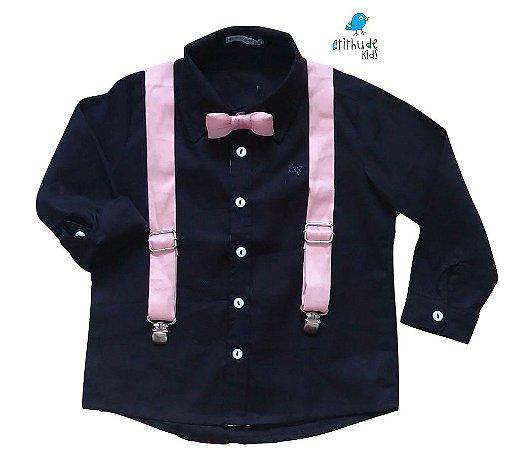 Conjunto Camisa Fábio - Preta e kit suspensório e gravata rosa | Bita (3 peças)
