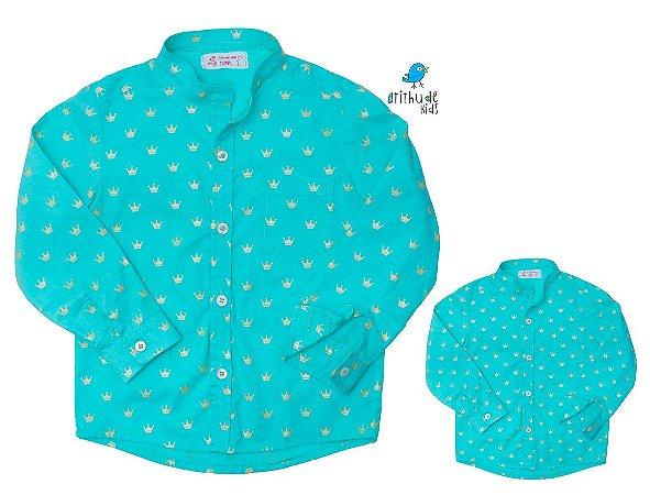 Kit camisa Luli - Tal pai, tal filho (duas peças) | Verde Água | Pequeno Príncipe | Coroa