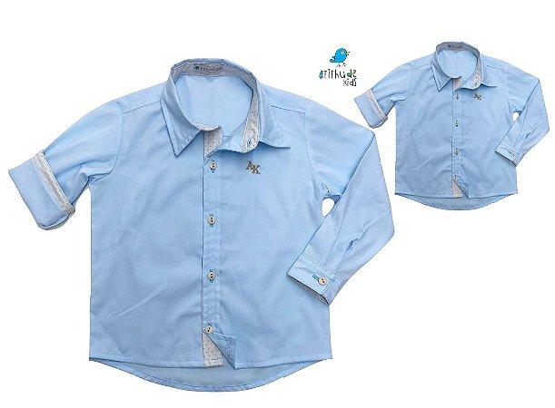 Kit Camisa Edu - Tal mãe, tal filho  (duas peças) | Azul Bebê