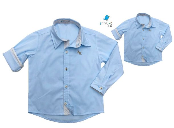 Kit camisa Edu - Tal pai, tal filho (duas peças) | Azul clara com detalhe bege poá