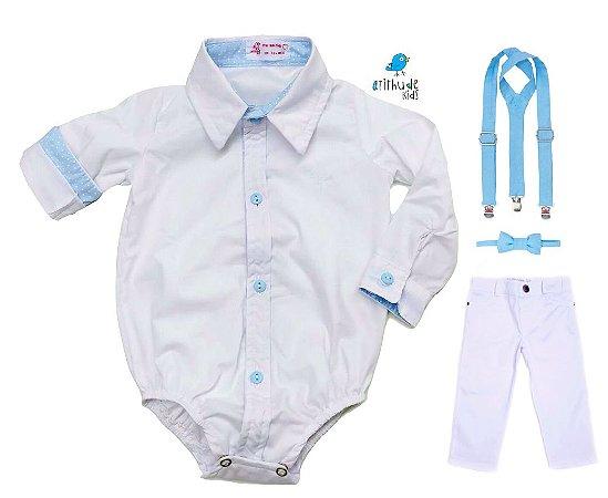 Conjunto Justin - Camisa Branca e Calça Branca  (quatro peças) | Batizado