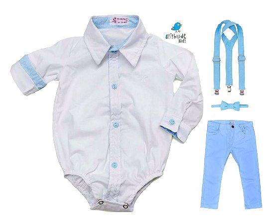 Conjunto Justin - Camisa Branca e Calça Azul Bebê  (quatro peças) | Batizado
