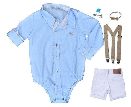 Conjunto Edu - Camisa Azul e Bermuda Branca (quatro peças)