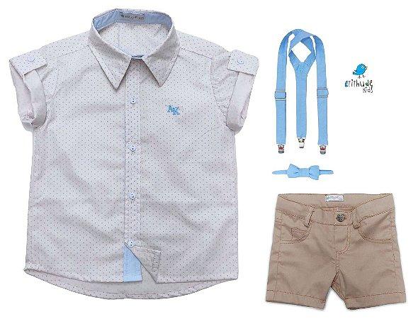 Conjunto Alec - Camisa Poá Bege e Bermuda Bege (quatro peças) | Pajem e Batizado
