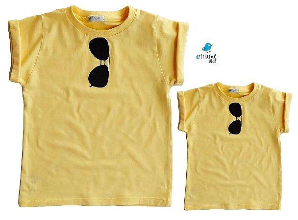 Kit camiseta Rayban - Tal mãe, tal filho (a) | Amarela
