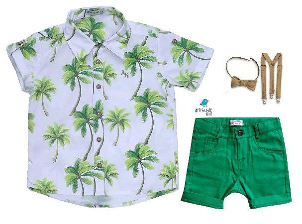 Conjunto Taylor - Camisa Palmeiras e Bermuda Verde  | 4 peças | Bege café