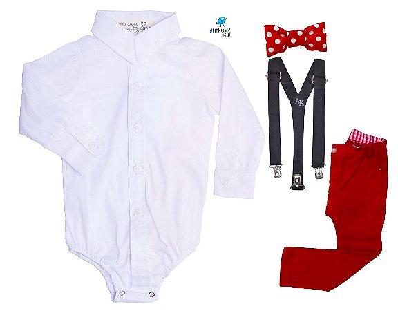 Conjunto Mickey - Camisa Branca e Calça Vermelha (quatro peças) | Mickey