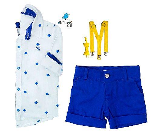 Conjunto Nathan - Camisa Branca e Bermuda Azul Royal  (quatro peças) | Lego