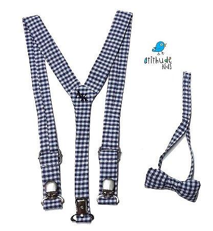 Kit suspensório + gravata borboleta - Xadrez Azul Escuro