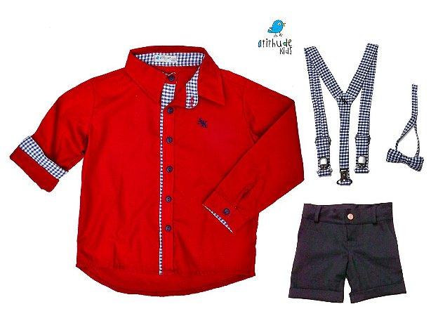 Conjunto Isaac - Camisa vermelha e Bermuda preta (quatro peças)  | Carros