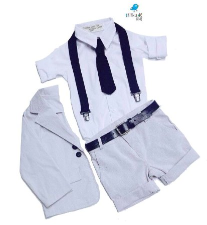 Conjunto Vitor - Blazer, Camisa, Bermuda (5 peças)