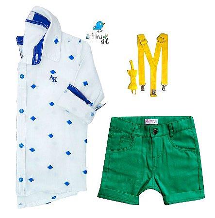 Conjunto Nathan - Camisa Branca e Bermuda Verde (quatro peças) | Lego