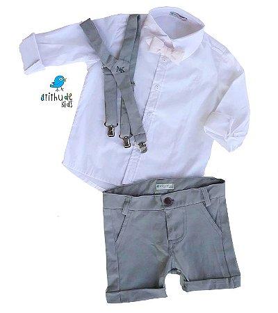 Conjunto Antony - Camisa Branca e Bermuda Cinza (quatro peças) |