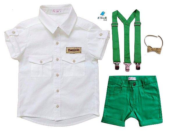 Conjunto Sandro - Safari (4 peças) | Personalizado com nome do bebê | Verde e Bege