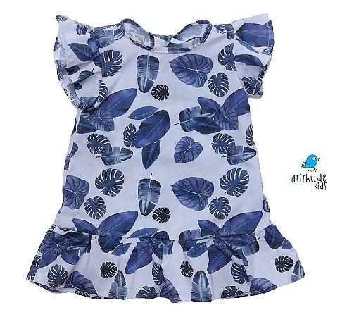 Vestido Cloe - Estampado Folhas Azul