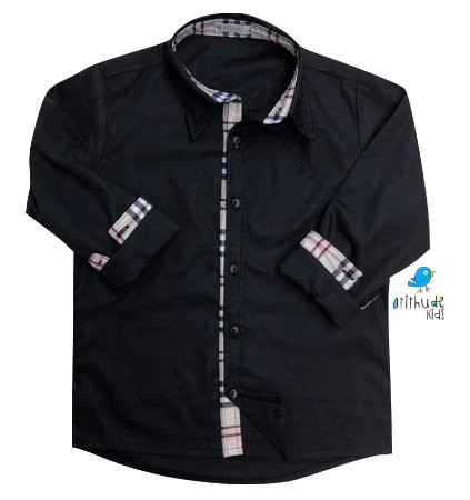 Camisa Christian - Preta com detalhes em Xadrez