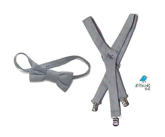 Kit suspensório + gravata borboleta - Cinza