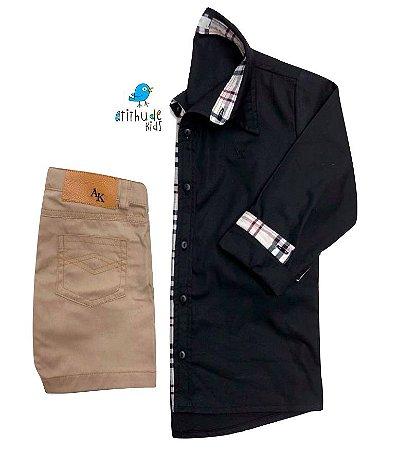 Conjunto Christian - Camisa Preta e Bermuda Bege (duas peças)