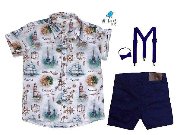 Conjunto Nico - Camisa Estampada e Bermuda Azul Marinho (quatro peças) | Náutico