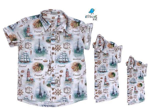Kit camisa Nico - Família (três peças) | Estampada | Náutica