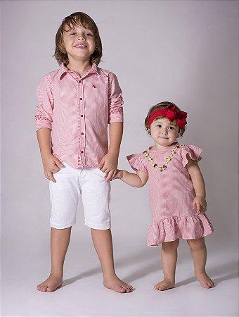 Vestido Felipa - Listrado Vermelho