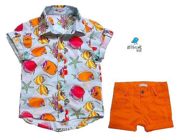 Conjunto Vavá - Camisa Peixinhos e Bermuda Laranja (duas peças)