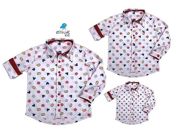 Kit camisa Meu Mickey - Família (três peças) | Manga Longa | Personalize