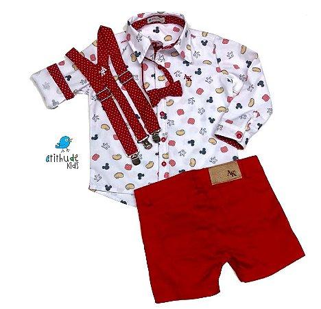 Conjunto Meu Mickey - Camisa  e Bermuda  (quatro peças) | Mickey