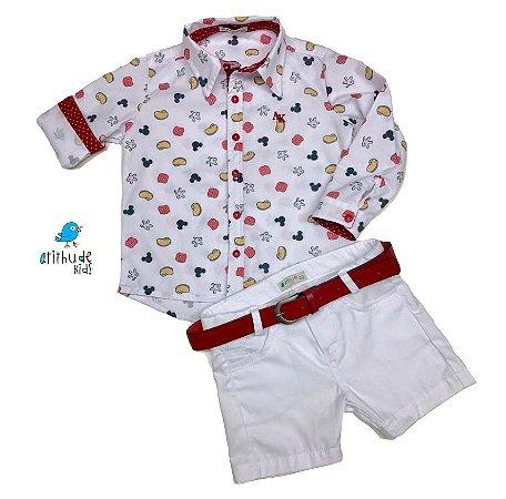 Conjunto Meu Mickey - Camisa  e Bermuda  (três peças) | Mickey