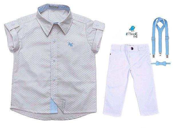 Conjunto Alec - Camisa Poá Bege e Calça Branca (quatro peças) | Batizado