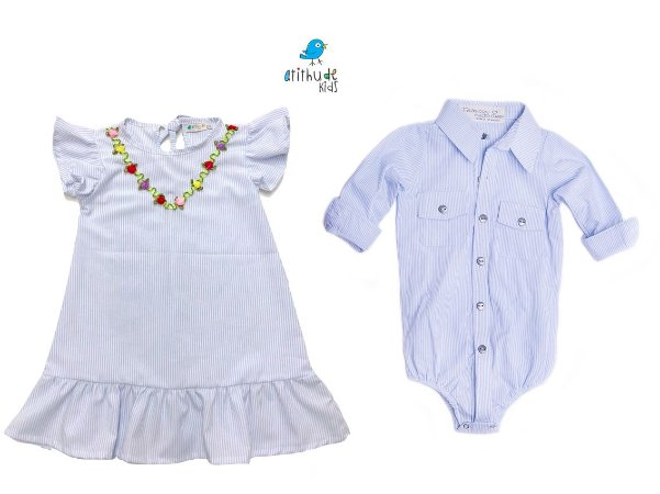Conjunto Davi - Vestido e Camisa | Listrado azul claro