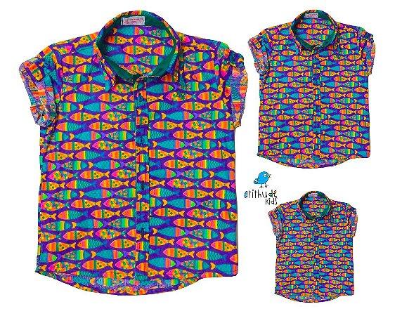 Kit camisa Alberto - Família (trêss peças) | Fundo do mar