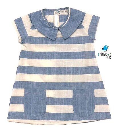 Vestido Manuela - Linho   Listrado Azul