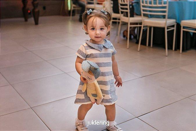 Vestido Manuela - Linho | Listrado Azul