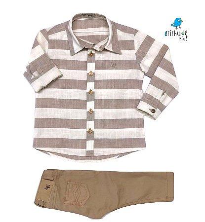 Conjunto Matheus - Camisa e Calça (duas peças) | Linho Bege Claro