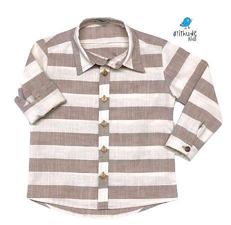 Camisa Matheus - Bege  Claro Listrada | Linho