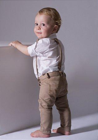 Conjunto Alexandre - Camisa Branca e Calça Bege (quatro peças) | Batizado