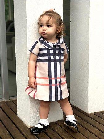 Vestido Rafaela - Xadrez Bege | Sarja