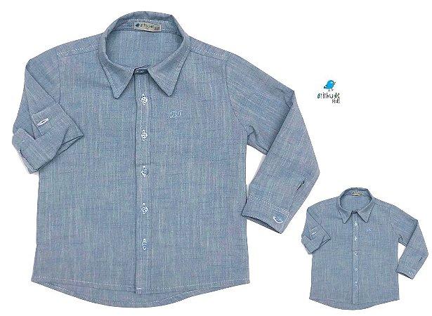 Kit camisa Fausto - Azul | Tal pai, tal filho (duas peças) | Linho