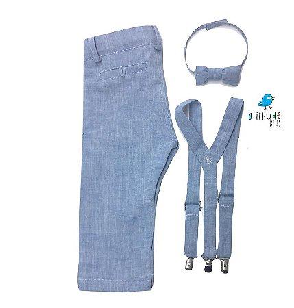 Conjunto calça Fausto -  Azul Claro (três peças) | Linho