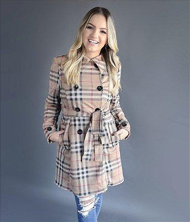 Trench Coat Rafaela - Xadrez | Adulto   | Suede