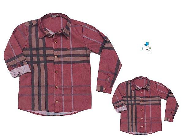 Kit camisa Rafael - Tal pai, tal filho (duas peças)   Xadrez Vermelha