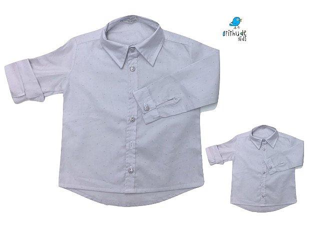 Kit camisa Fabricio - Tal pai, tal filho (duas peças) | Cinza poá