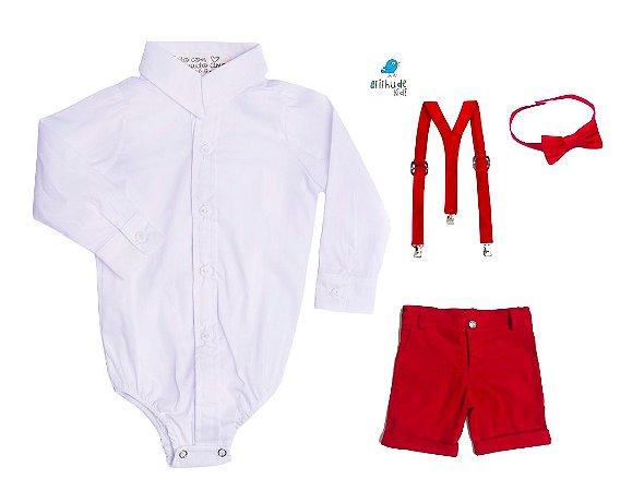 Conjunto Antony - Camisa Branca e Bermuda Vermelha (quatro peças) | Vermelho | Mickey