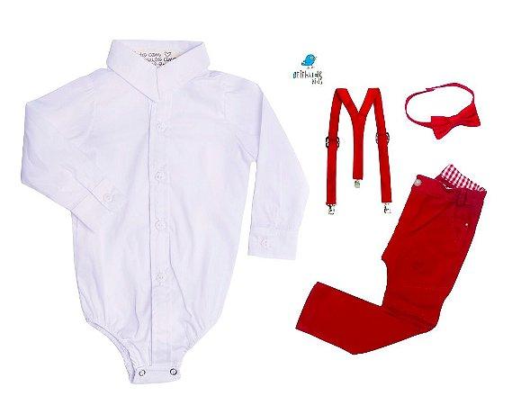 Conjunto Antony - Camisa Branca e Calça Vermelha (quatro peças) | Vermelho | Mickey
