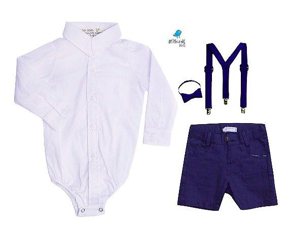 Conjunto Antony - Camisa Branca e Bermuda Azul Marinho (quatro peças) | Azul Marinho