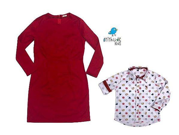 Conjunto Mickey  - Mãe e filho   Vestido e camisa   Mickey