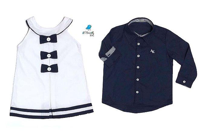 Conjunto Nicole e Nicolas - Vestido e Camisa | Branco e Navy