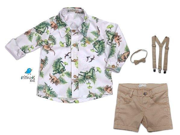 Conjunto Beto - Camisa Dino e Bermuda Bege (quatro peças) | Dino