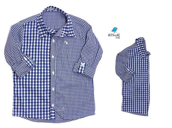 Kit camisa Cadú - Tal pai, tal filho (duas peças) | Xadrez Azul  | Fazendinha